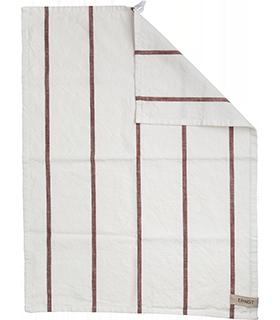 Ernst - Kökshandduk - vit med roströda ränder