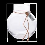 Ernst - Glasvas rund med läderband, liten