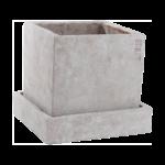 Ernst - Kruka fyrkantig med fat - grå