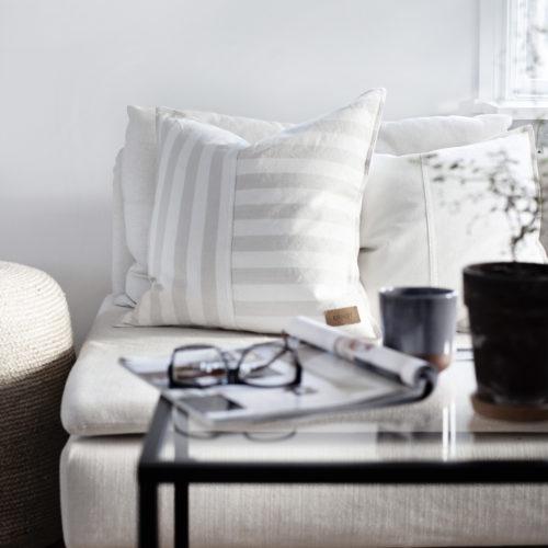 Ernst - Kudde randig off-white/concret