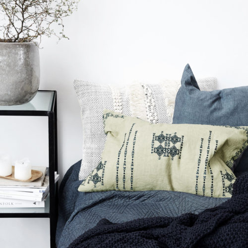 House Doctor - Pillowcase, Inka, Green, l: 40 cm, w: cm +Pillow stuffing, 40x60 cm, 640 g