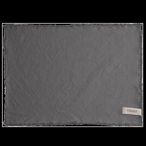 Ernst - Tablett med fransad kant - mörkgrå