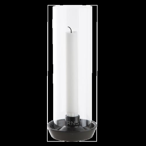 Ernst - Ljusstake med glas - mörkgrå