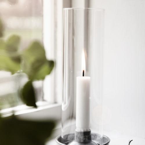 Ernst - Ljusstake med glas - ljusgrå