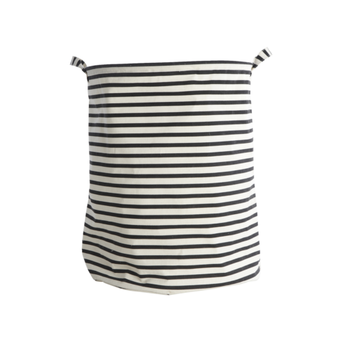 House Doctor - Laundry bag, Stripes, black, dia.: 40 cm, h.: 50 cm, 37.5% cotton/40.4% polyester/22.1% rayon