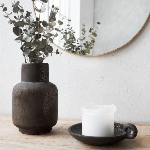 House Doctor - Vase, Ruka, Stained black, dia: 11 cm, 17 cm