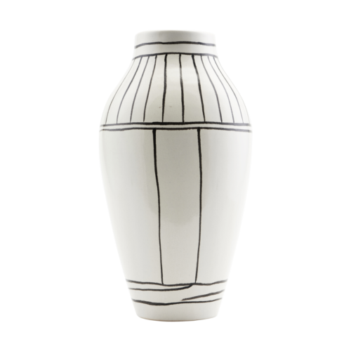 House Doctor - Vase, Outline, White, dia: 14 cm, h: 26 cm