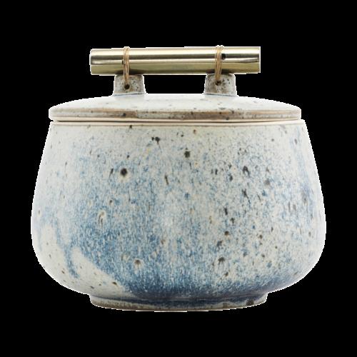 House Doctor - Storage w. lid, Diva, Grey/Blue, h: 12 cm, dia: 14 cm, Finish/Farve vil variere e