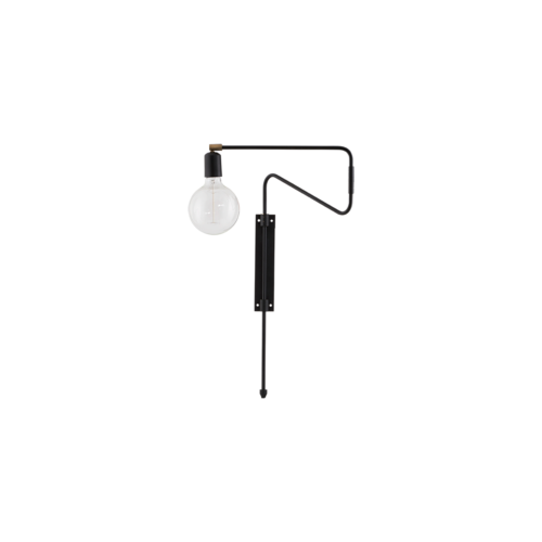 House Doctor - Wall lamp, Swing, black, l.: 35 cm, E27, max 25 watt, 3.5 m cable