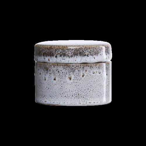 House Doctor - Jar w. lid, Croz, white/black, dia.: 8.5 cm, h.: 7 cm