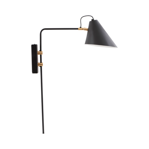 House Doctor - Wall lamp, Club, Black/White, dia: cm, h: 54 cm, l: 22 cm, E27, max 25 W, 2,50 m ledning