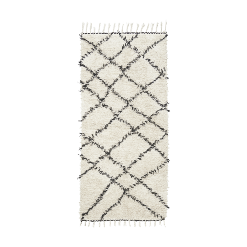 House Doctor - Rug, Riba, white/black, 90x200