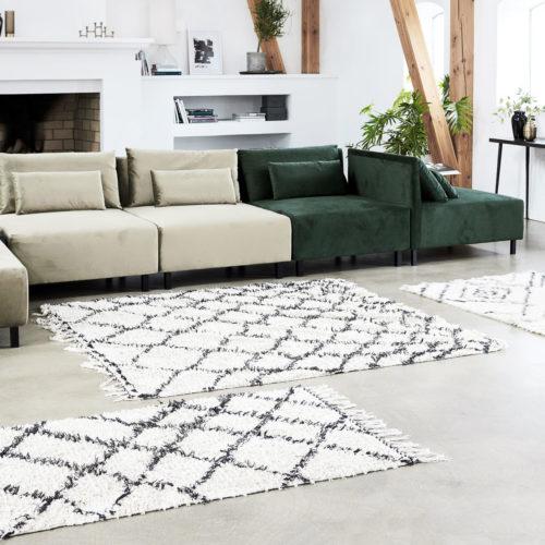 House Doctor - Rug, Riba, white/black, 90x200
