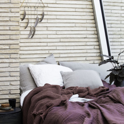 House Doctor - Plaid, Aubergine, l: 170 cm, w: 120 cm, 100% Bomuld