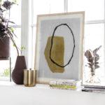 House Doctor - Illustration w. frame, Abstract , Oak, cm, h: 70 cm
