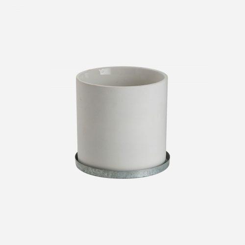 Ernst - Kruka med zinkfat, liten - vit