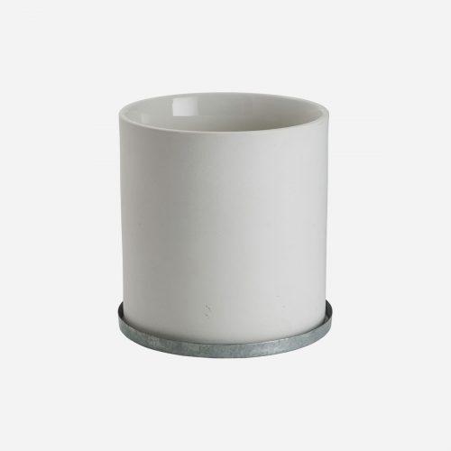 Ernst - Kruka med zinkfat, mellan - vit