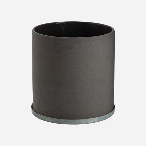 Ernst - Kruka med zinkfat, stor - grå