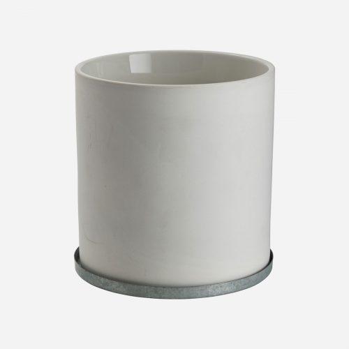 Ernst - Kruka med zinkfat, stor - vit