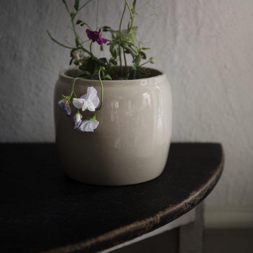 Ernst - Kruka glaserad keramik d14 h12 beige